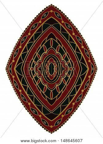Red and green ornament. Template for oriental carpet textile shawl cover and any surface. Vector pattern of gold contours. Design element.