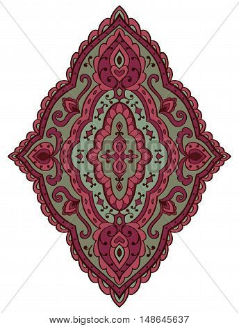 Vintage abstract ornament. Template for carpet shawl wallpaper textile and any surface. Vector pattern of pink and purple tones. Design element.
