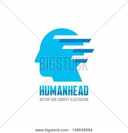 Human head - vector logo template concept illustration. Creative idea sign. Design element.