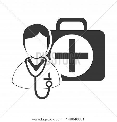 avatar medical doctor with stethoscope tool and emergency medicine kit. vector illustration