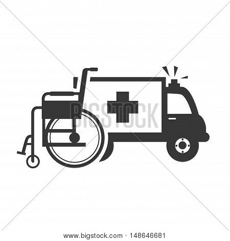 ambulance emergency medical vehicle with wheelchair tool. vector illustration