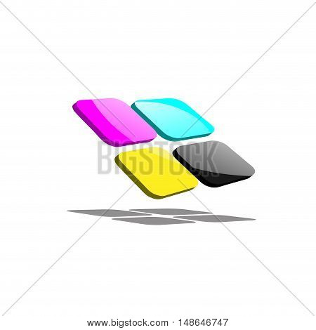 Vector abstract pixelCMYK for printer isolated on white