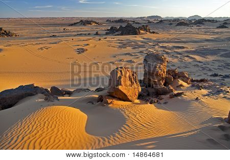 Acacus landscape at sunset in Libya
