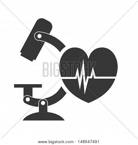 microscope research tool with cardio pulse heart. vector illustration