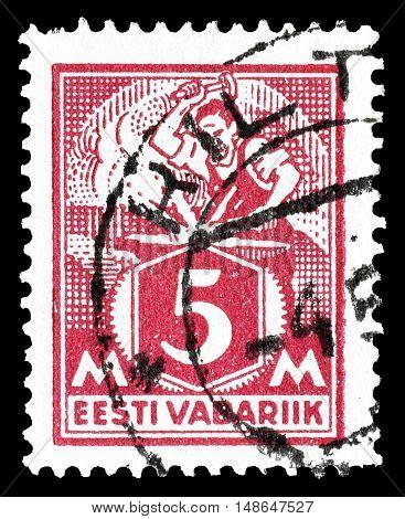 ESTONIA - CIRCA 1922 : Cancelled postage stamp printed by Estonia, that shows Blacksmith.
