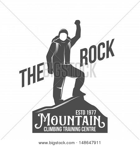 Mountain climbing vintage logo, emblem, silhouette and design elements. Logotype template and badge with climber.