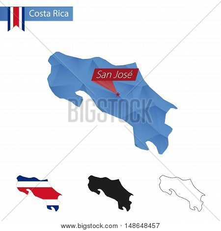 Costa Rica Blue Low Poly Map With Capital San Jose.