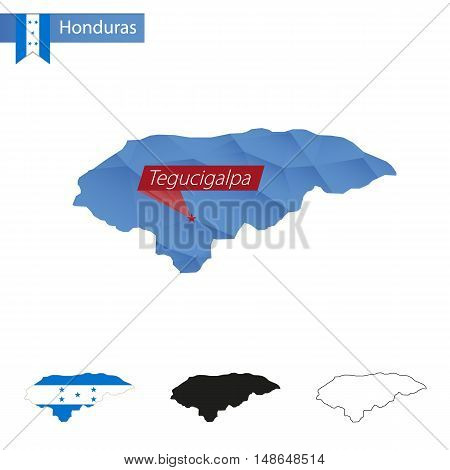 Honduras Blue Low Poly Map With Capital Tegucigalpa.