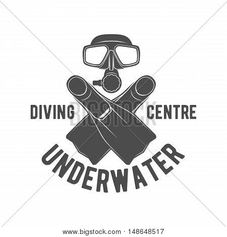 Scuba diving label. Underwater swimming logo. Sea dive, spearfishing, vector illustration
