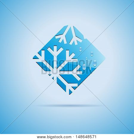 Square Vector sign Ice on white background