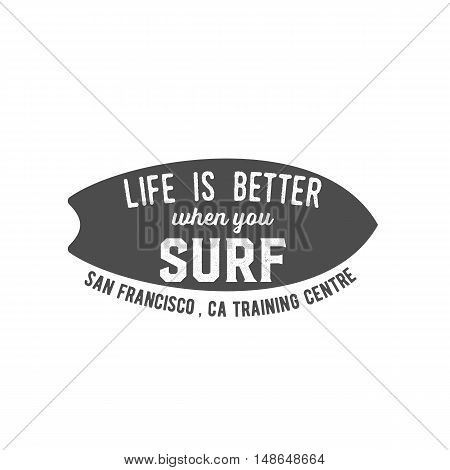 Vintage surfing logotype, badge and emblems. Surfer, beach style logo design.  Summer boarding on waves.