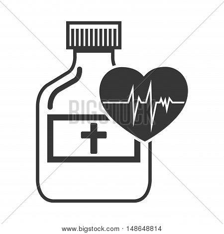 medical medicine bottle with cardio pulse heart. vector illustration