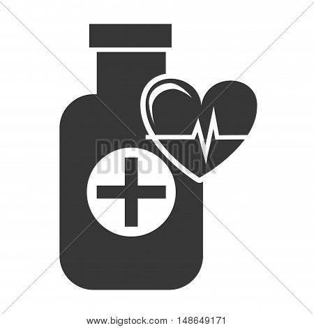 medical medicine bottle with cardio pulse heart silhouette. vector illustration
