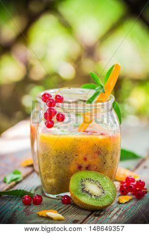 Cocktail Kiwi Fruit Orange Red Currants