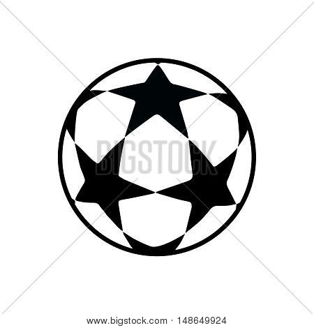 Ball isolated on white background. Flat Vector illustration. Black and white with stars color.