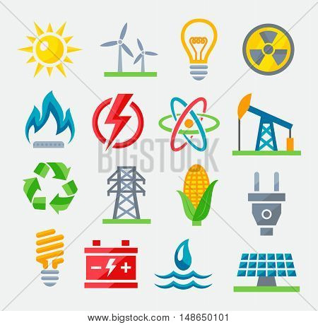 Energy colorful icons set on gray background