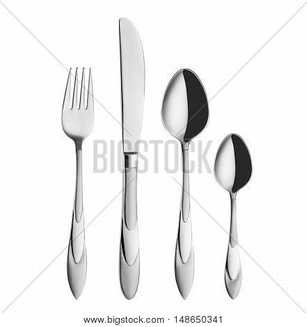 Modern, elegant fork, spoon and knife isolated on white