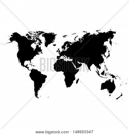 Vector map of the world printed in black ink on a white background.