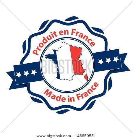 Made in France (French and English language text) - grunge label containing the map and flag colors of France. Print colors used