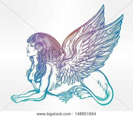 Sphinx, beautiful ancient beast. Mythical creature with head of human, body of lion and wings. Symbol of goddess of wisdom. Isolated vector illustration in line art style.