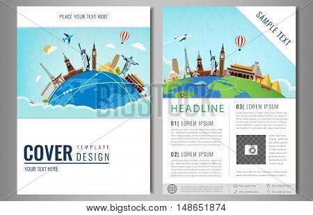 Travel flyer design with famous world landmarks. Brochure headline for Travel and Tourism. Vector illustration. Modern flat design.