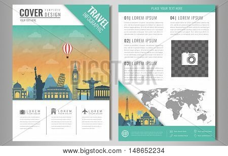 Travel information cards. Travel and Tourism brochure with famous world landmarks. Vector illusrtation
