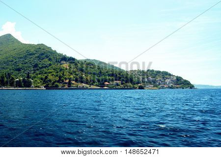 View of the village Lepetane in Boka Bay, Montenegro