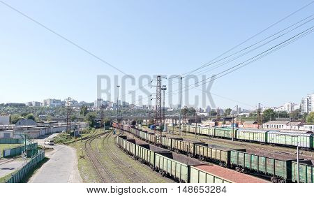 BELGOROD RUSSIA - August 30.2016: Freight Station with cargo trains ready to go away in a trip