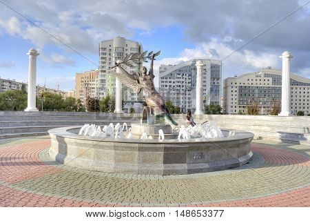 BELGOROD RUSSIA - August 31.2016 : Fountain of Nike It depicts the ancient goddess of victory Nike holding a laurel branch over his head for the winners