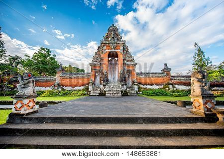 Special Place For Worship, Hinduism Religion. Temples Of Bali, Indonesia On Sunset