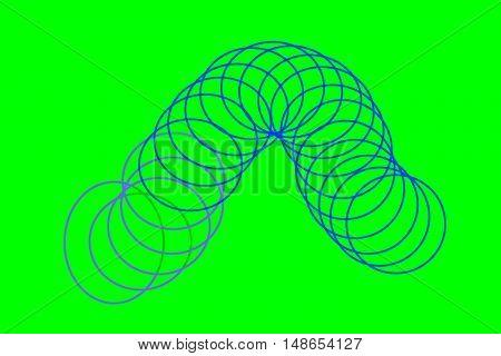 Spring rings Fibonacci system on green background