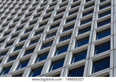 Perspective view of modern office building in Tel Aviv.  Israel.