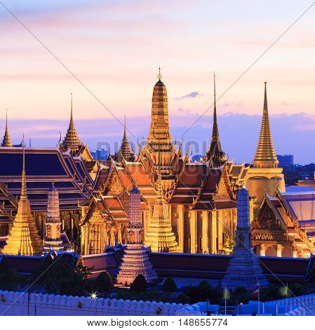Bangkok skyline,Wat Phra Kaew the famous place in Bangkok, temple of the emerald Buddha and Grand Palace in Bangkok, Thailand