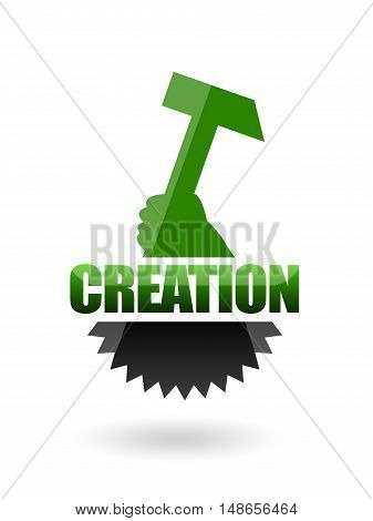 Creation or technical design sign with cogwheel and hammer