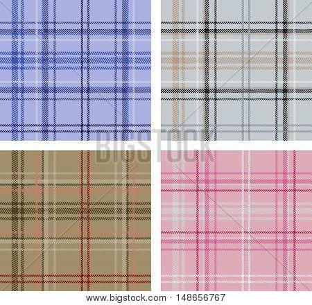 Set of textures of various Scottish plaid textures