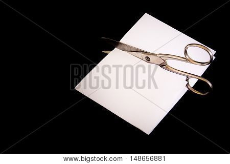 Scissors Cut Paper Game Victory Lost Black Isolated Background Metal