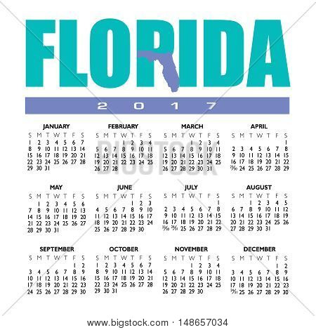 A 2017 creative Florida calendar with the state outline