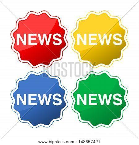 Flat icon of news set on white background