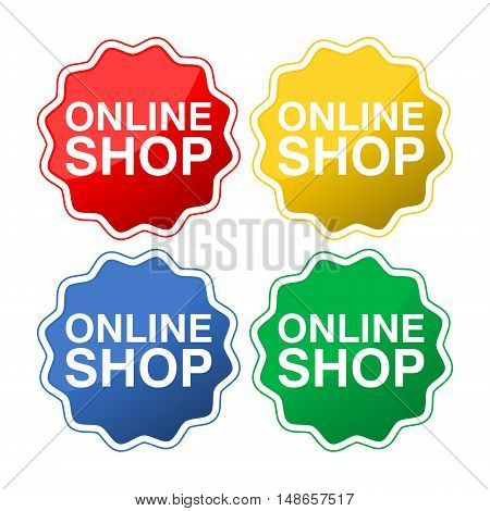 Online shop concept icon set on white background