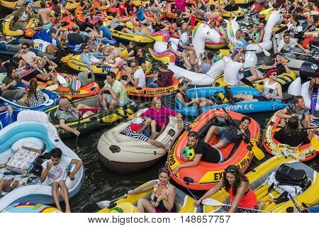 Utrecht The Netherlands - August 6 2016: People at Rubber Boat Mission in Utrecht world record The Netherlands