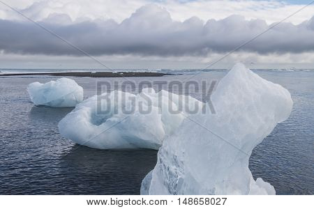 Three Ice blocks on beach and Artic Terns near river Jokulsa at Jokulsarlon glacier lagoon in the Vatnajokull National Park Iceland.