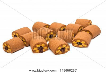 biscuits with jam isolated on a white background