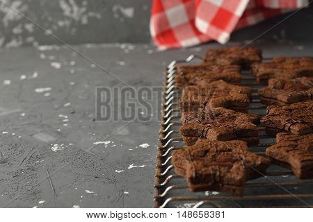 Chocolate cookies on a gray background close up