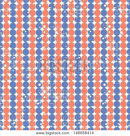 Seamless vector dotted pattern. Creative geometric blue and red background with circles. Grunge texture with attrition cracks and ambrosia. Old style vintage design. Graphic illustration.