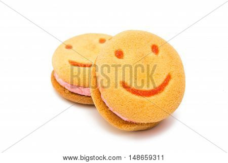 Smiley circle cookies isolated on white background