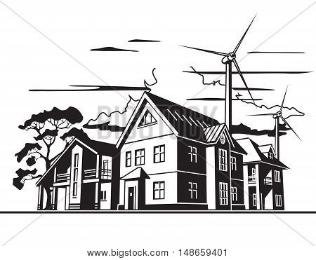 Individual residential houses. Suburban homes or cottages. Wind power plant