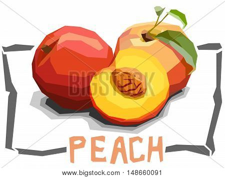 Vector simple illustration of peaches with half in angular cartoon style.