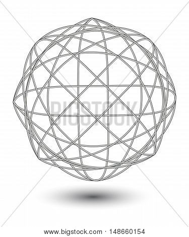 Vector abstract metall wire ball with shadow on white background.