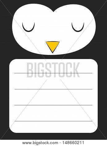 Cute cartoon penguin sticker design with blank space