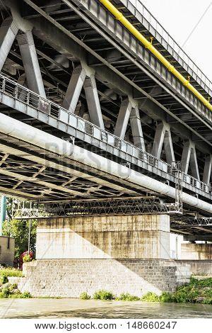 Old bridge and Danube river in Bratislava Slovak republic. Architectural scene. Infrastructure theme.